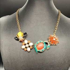 Colorful enamel statement necklace bee and snake